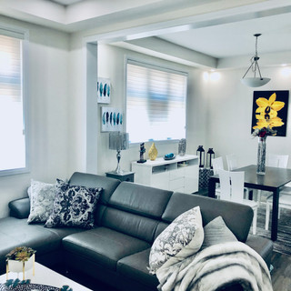 Breezy living room and dining