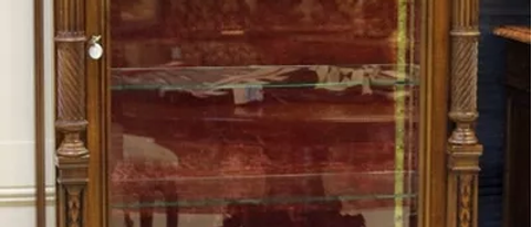 CABINET FRENCH CARVED WALNUT BEVELED GLA