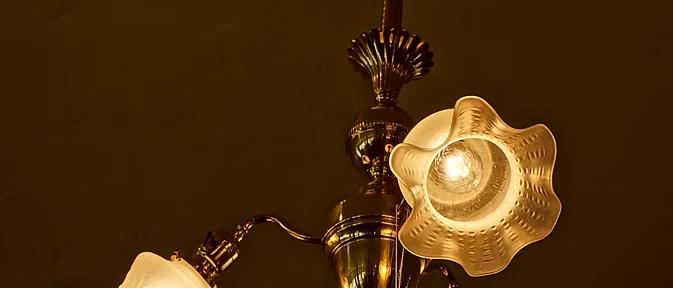 1930s Solid Brass Chandelier