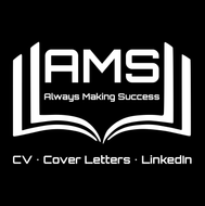 AMS logo with white colour and black background