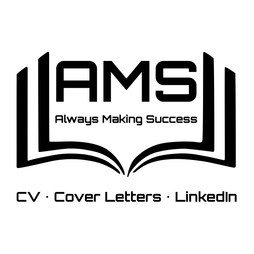 AMS logo in black with white background