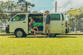 Henry and Chloe with the van