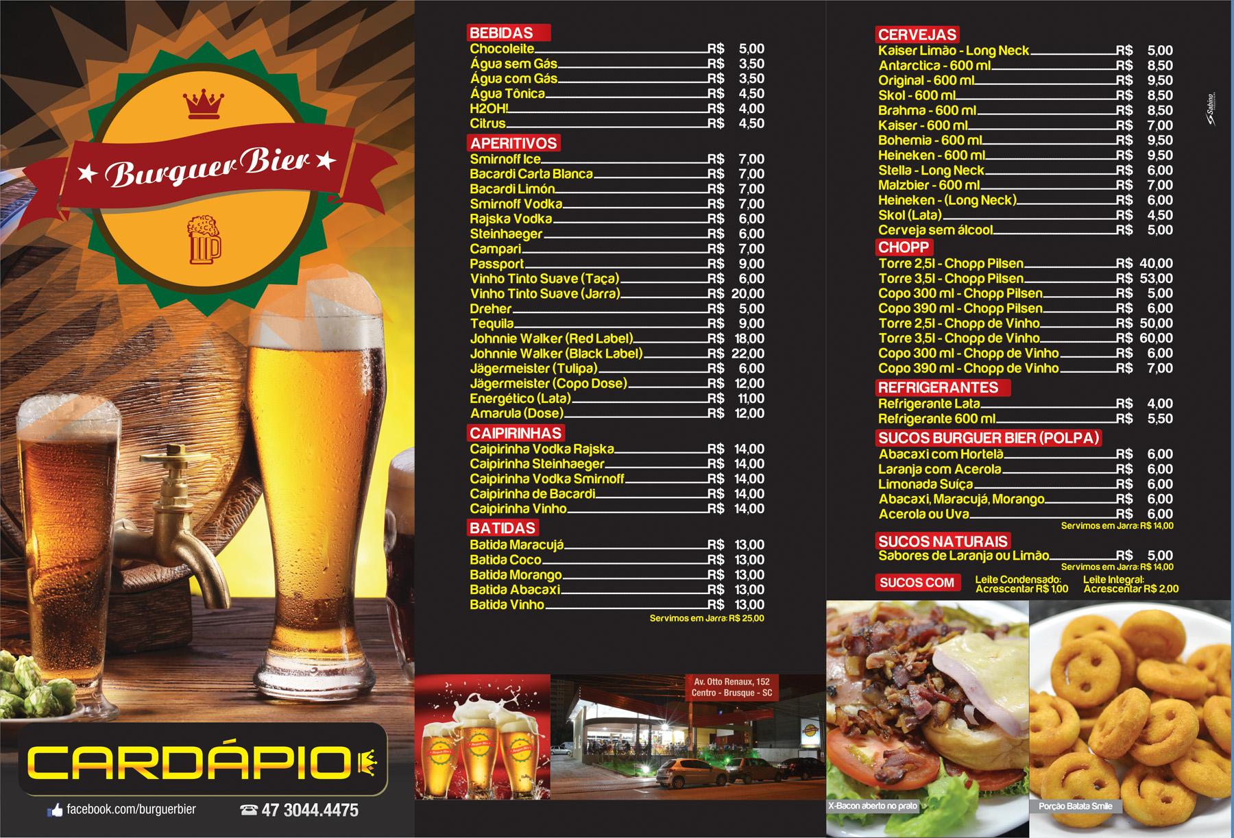 Cardápio Burguer Bier - Externo