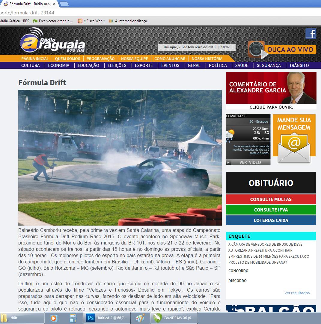 Fórmula Drift -Site Rádio Araguaia