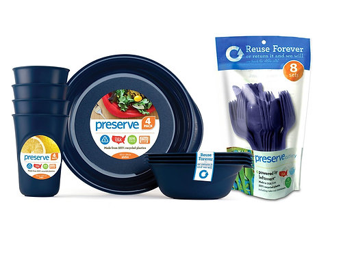 Preserve Everyday Tableware Set with Cutlery, Midnight Blue