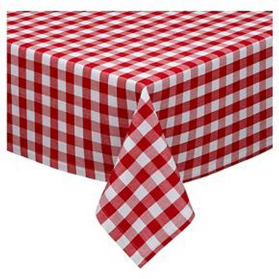 Design Imports Red Tango & White Checkers Tablecloth