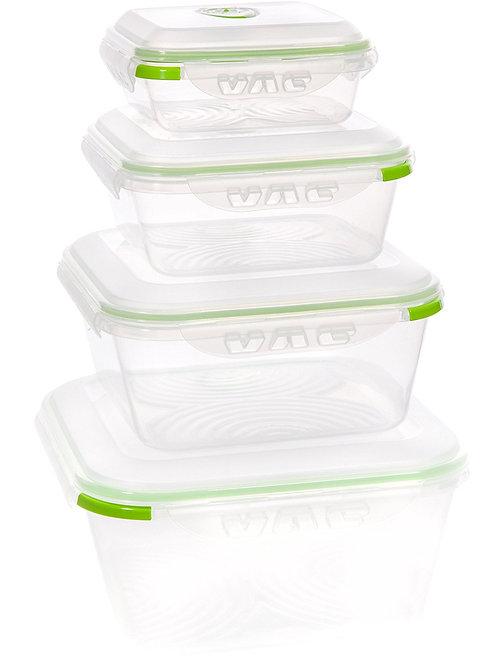 Ozeri INSTAVAC Earth Food Storage Container Set, BPA-Free 8-Piece Nesting Set