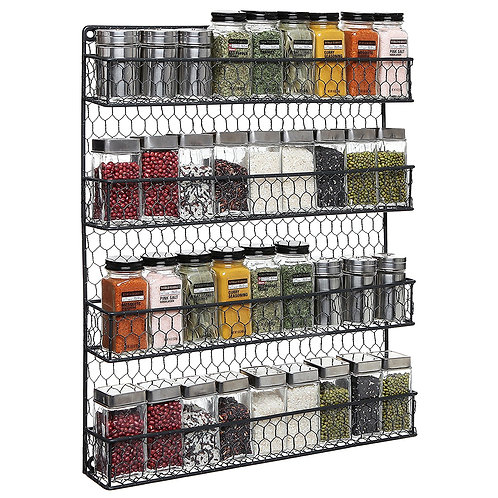 MyGift 4-Tier Country Rustic Chicken Wire Mounted Spice Rack Storage Organizer