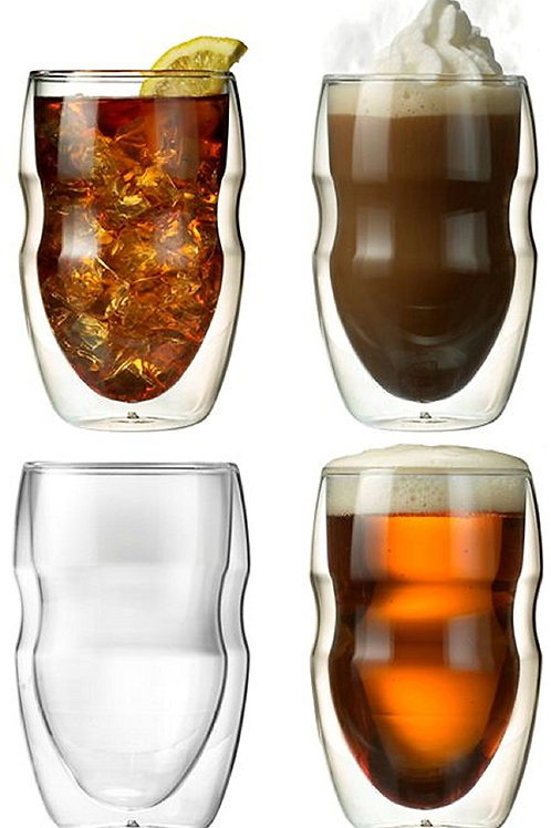 Ozeri Serafino Double Wall Insulated Beverage and Coffee Glasses, 12 oz, 4 pcs