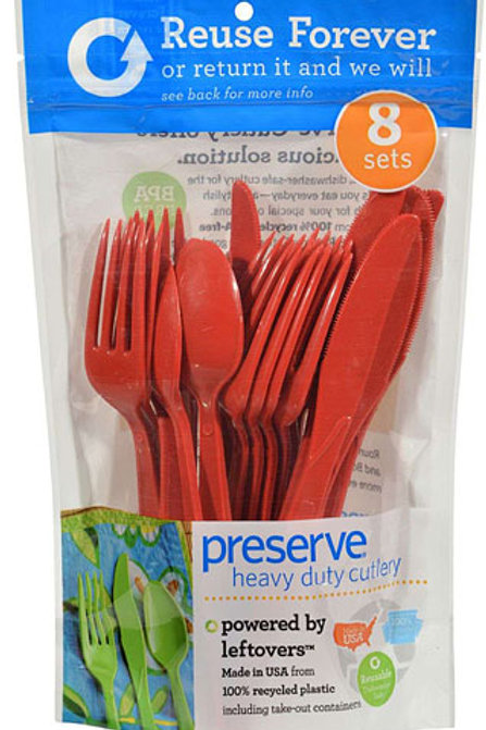 Preserve On the Go 24 Piece Cutlery Set: 8 Forks, 8 Knives, 8 Spoons, Pepper Red