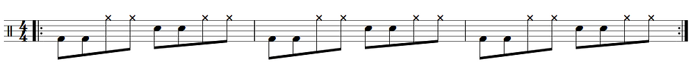 3 bars of regular eight notes