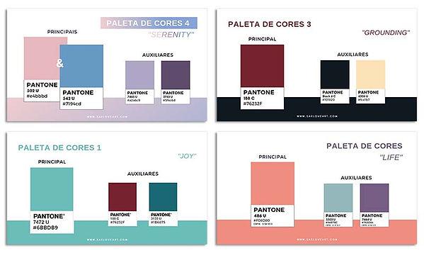 exemplos de algumas paletas de cores PP.