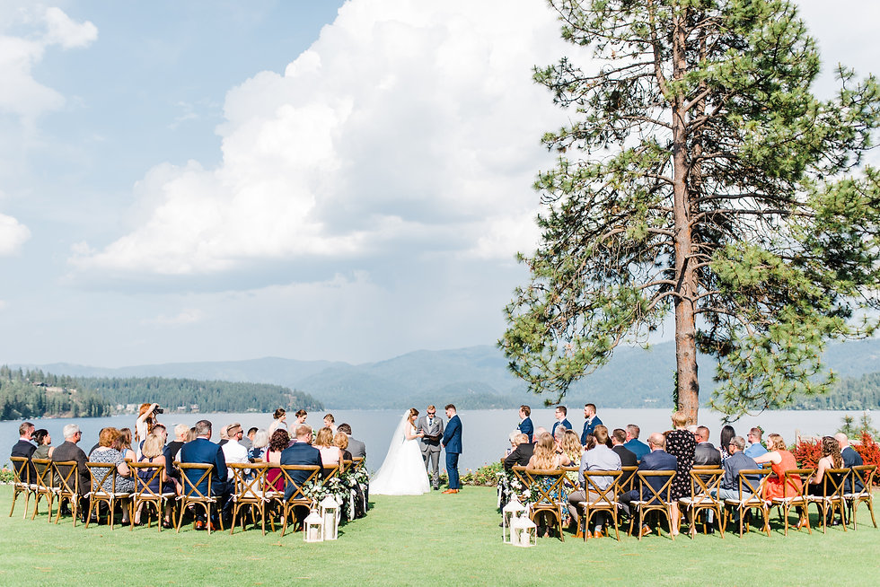 Intimate ceremony overlooking lake in Idaho