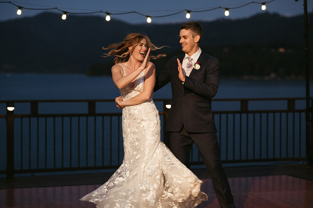 Quirky bride and groom's first dance in Hayden Lake, Idaho