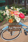 Just married sign on vintage bike for wedding in Idaho