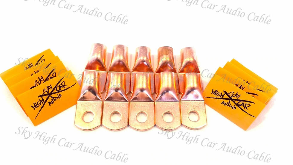 "Sky High Car Audio 1/0 Gauge Copper Ring Terminals w/heat shink ""10 pack"""