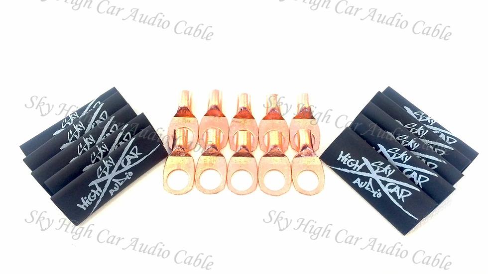 "Sky High Car Audio 8 Gauge Copper Ring Terminals (3/8"" hole) w/ Heat Shrink"