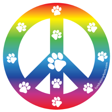Rainbow Paw Print Peace Symbol Magnet