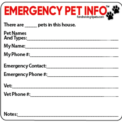 EMERGENCY PET INFO Magnet