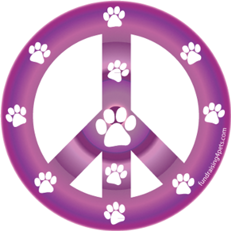 Purple Paw Print Peace Symbol Magnet