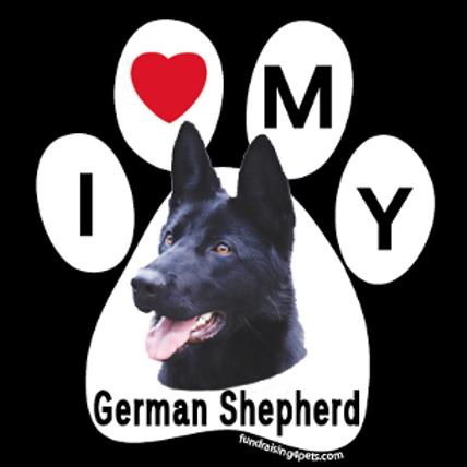 I Love My  German Shepherd - Black Paw Print Magnet