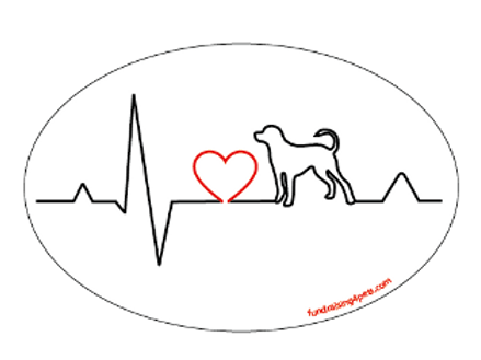 Heartbeat oval magnet - Dog
