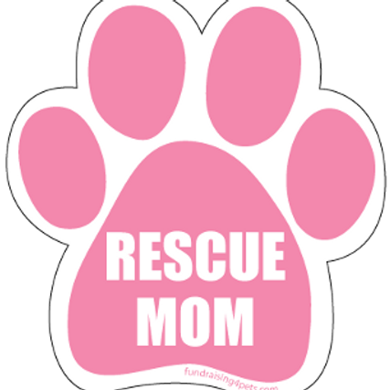 Rescue Mom Pink Paw Print Magnet