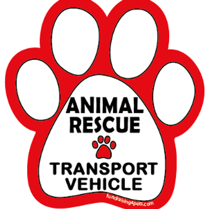 Animal Rescue Transport Vehicle paw magnet - white/red