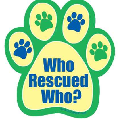 Who Rescued Who? Green Yellow & Blue Paw Print Magnet