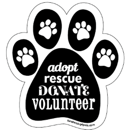 Adopt Rescue Donate Volunteer paw magnet - black
