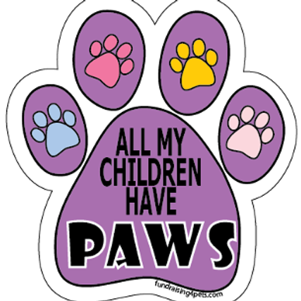 All My Children Have Paws Paw Print Magnet - Purple