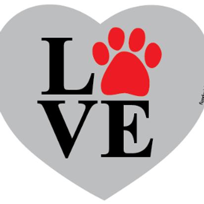 Love Paw Heart Magnet - Gray