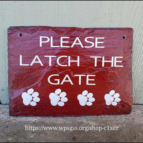 Please Close The Gate Tiny Paw Prints Slate Sign