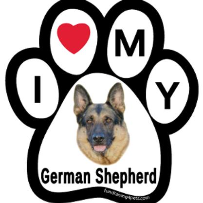 I Love My German Shepherd Paw Print Magnet