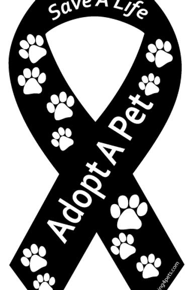 Save a Life Adopt a Pet Ribbon Magnet - Black