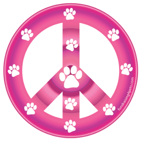 Pink Paw Print Peace Symbol Magnet