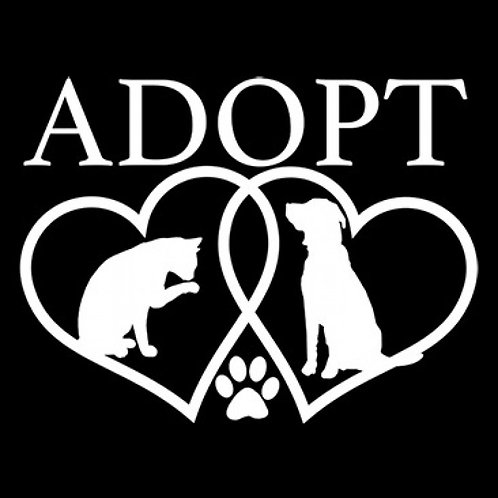 Adopt with Dog and Kitty in Hearts Tee Shirt