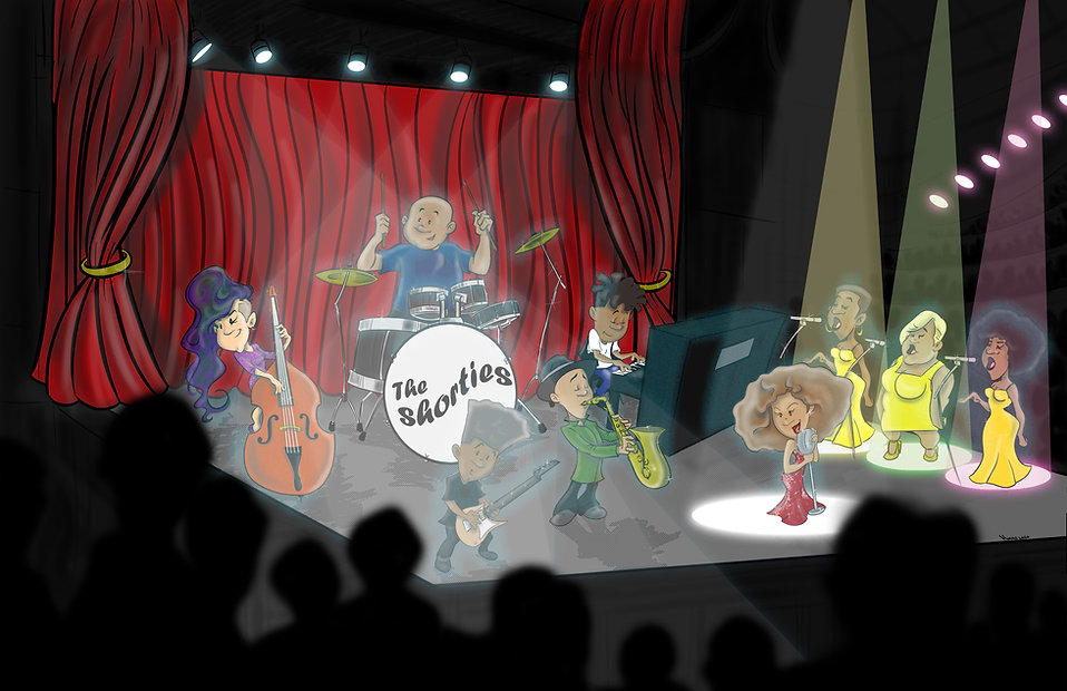 Cartoon of kid musicians on stage