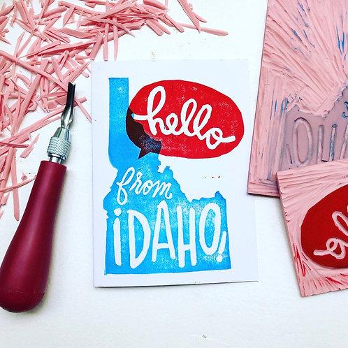 Hand Printed Hello from Idaho Greeting Card