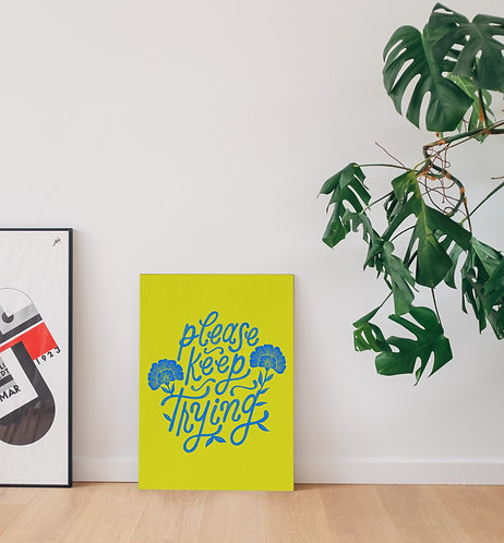 Please Keep Trying Hand Lettered Poster | Bright Cobalt Blue on Neon Yellow