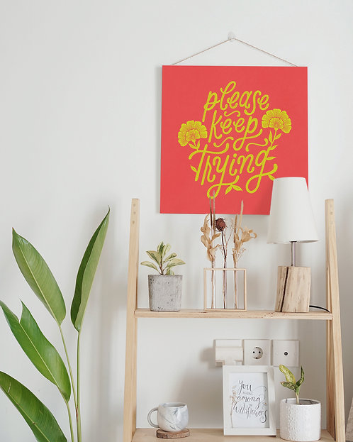 Please Keep Trying Hand Lettered Poster   Chartreuse Yellow on Watermelon Red