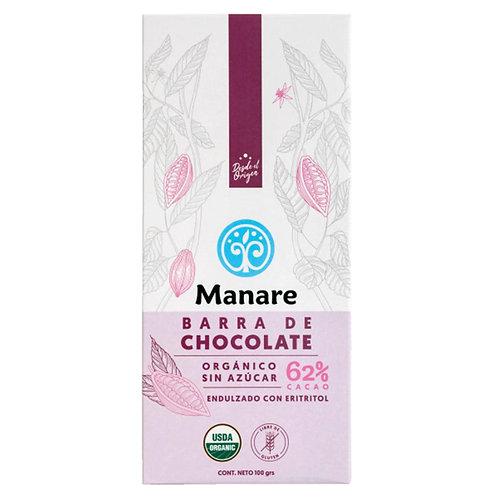 Chocolate orgánico sin azúcar 62% cacao Manare 100g.