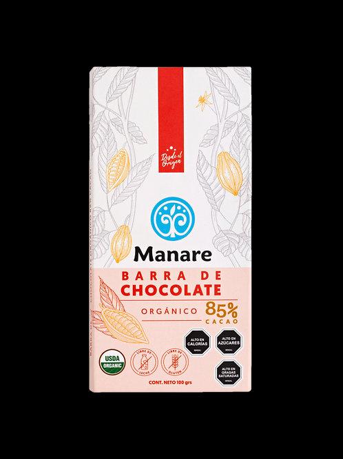 Chocolate Orgánico 85% Cacao Manare 100gr.