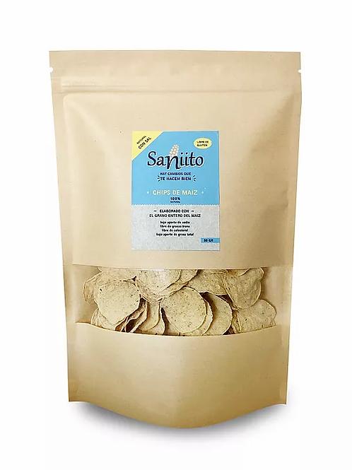 Chips de maíz con sal, sin gluten, vegano Saniito 80gr. 130un.