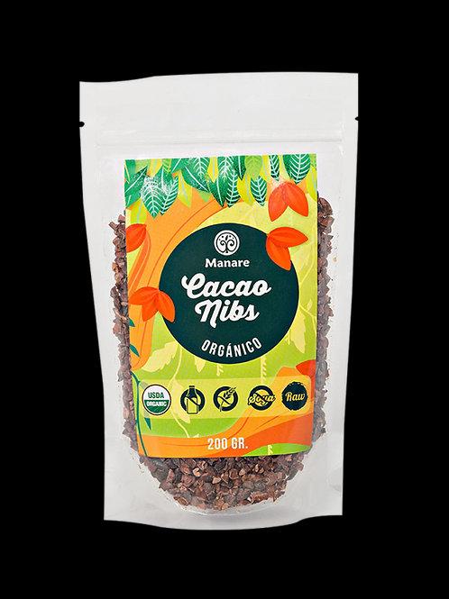Cacao nibs orgánico Manare 200g.