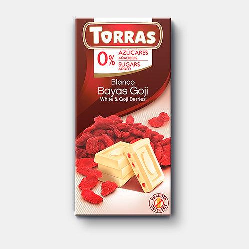 Chocolate Blanco con Goji, sin azúcar, sin gluten, Torras 75g.