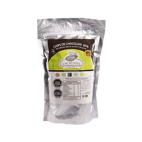 Chips de chocolate sin azúcar 85% Cacao Soul 500g.