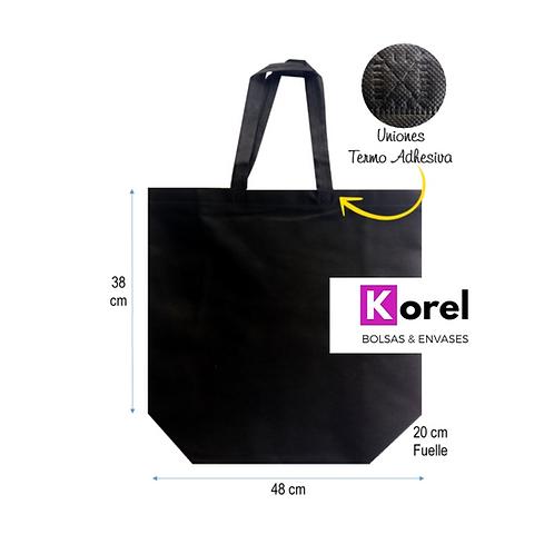 Bolsa de Tnt reutilizable negra 48x38x20 ( resiste 12k.)