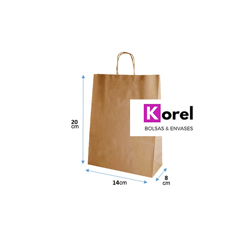 Bolsa de papel kraft 14x20x8 cm.