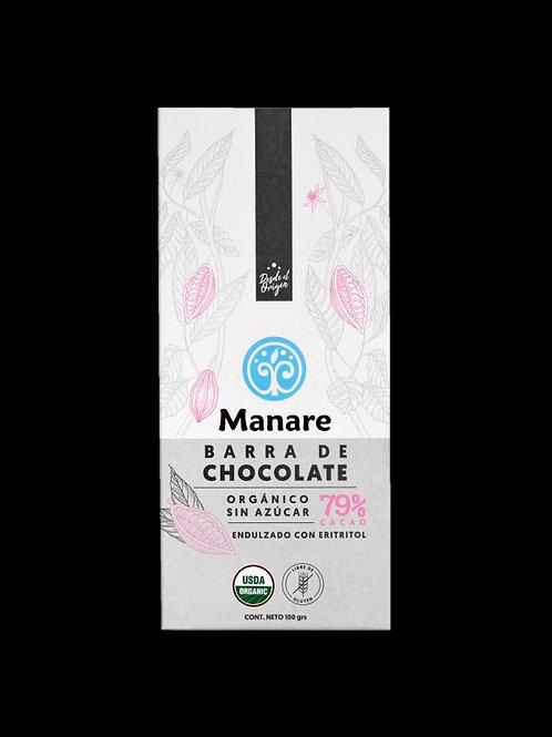 Chocolate orgánico 79% cacao con eritritol Manare